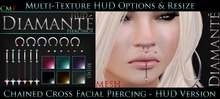 :Diamante: Chained Cross Facial Piercing - HUD Version
