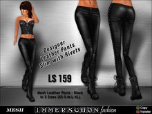 Immerschoen Girl - MESH Leather Pants Slim 'Black' DEMO