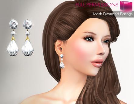 Full Perm Mesh Diamond Earings