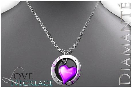 :Diamante: LOVE Necklace - Purple