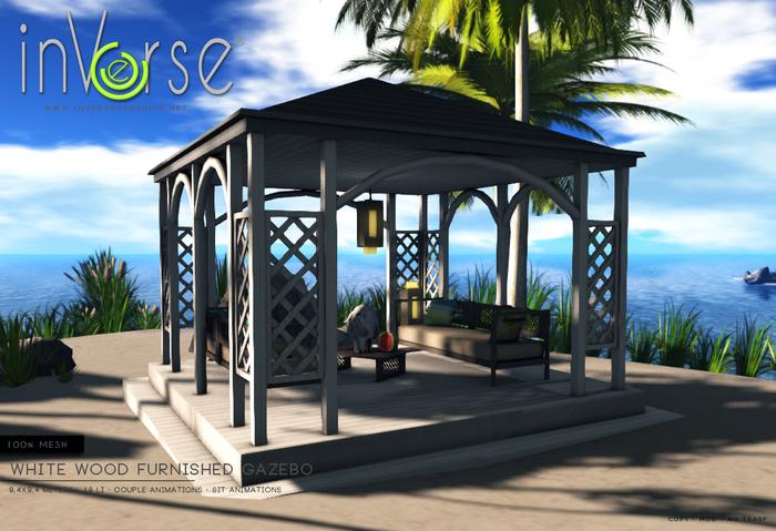 inVerse® MESH - Furnished white wood Gazebo/pavillion multianimated