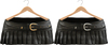 Blueberry Ave *Mesh* Leather Pleated & Belted Skirts (Silver & Gold Metals) Black