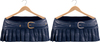 Blueberry Ave *Mesh* Leather Pleated & Belted Skirts (Silver & Gold Metals) Midnight