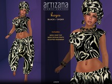 Artizana - Kayes (Black + Ivory) - African Outfit + Head Wrap