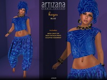 Artizana - Kayes (Blue) - African Outfit + Head Wrap
