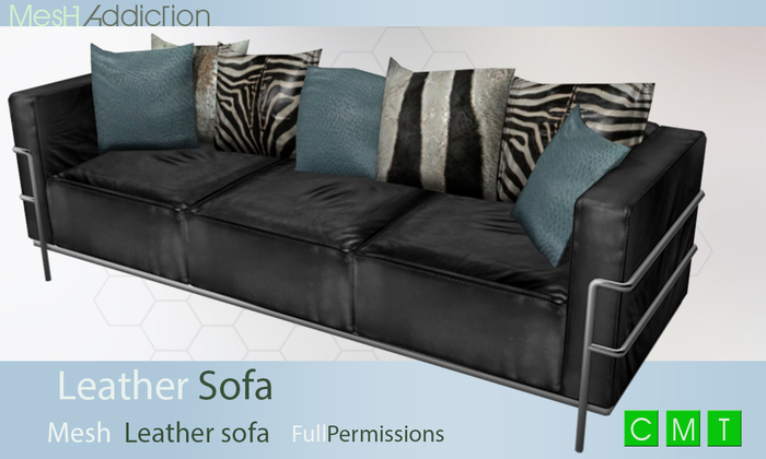 [MA] Mesh Leather sofa with cushions (boxed)