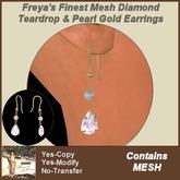 Freya's Finest MESH Diamond & Pearl Gold Earrings