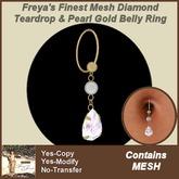 Freya's Finest MESH Diamond & Pearl Gold Belly Ring