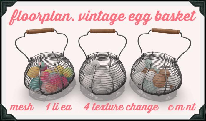 floorplan. vintage egg basket [boxed]