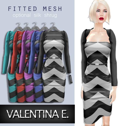 Valentina E. Chevron Dress & Optional Shrug Black & White FITTED MESH