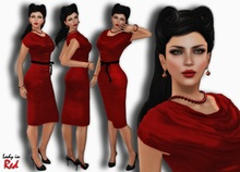 Lady in Red - Mary - Drapped Cowl Dress
