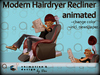 Salon - Modern Hairdryer Recliner - lift hood - reading