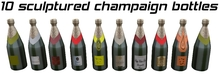 10 Sculptured champaign bottles - champagne