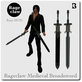 Rageclaw Medieval Broadsword with Unforgiven & Action HUD