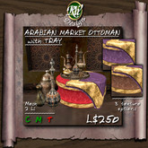 * Arabian Market Ottoman with Tray (boxed) - Multi-face Mesh design with texture changing menu - purple, red and brown