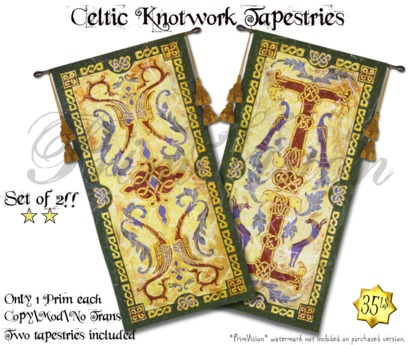 *PV* Celtic Knotwork Tapestries - SET OF TWO!