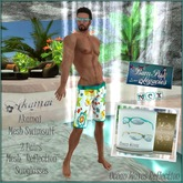 AKAMAI Hawaiin Male Mesh Swimsuit & Reflection Sunglasses