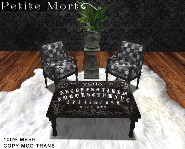 Petite Mort: Dark wood ouija board coffee table MESH