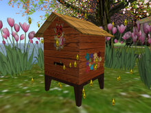 Beehive with flying bees and sound