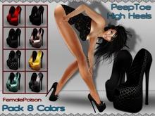 !FP! Black High Heels Peep Toes in 8 Colors - Change Texture HUD - Un-riged Mesh