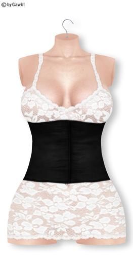 Gawk! White Lace Dress - Black Corsage   BoM