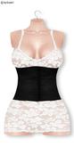 Gawk! White Lace Dress - Black Corsage