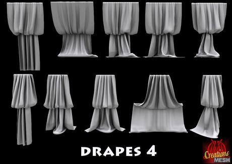 Drapes 4 FULL PERM MESH fabric curtains curtain drape cape
