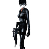 """""""SHIELD"""" Female Used Black Combat Catsuit Overall, sleeves and gloves"""