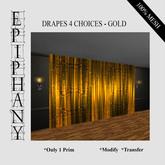 Drapes 4 Selections in Gold (1 Prim, 100% Mesh)