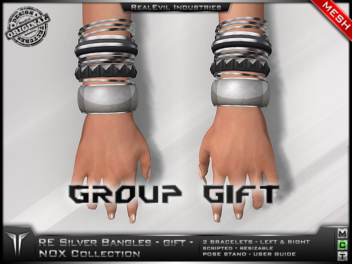 **RE** NOX Silver Bangles * MESH * FREE GIFT! *