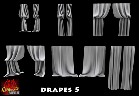 Drapes 5 FULL PERM MESH fabric curtains curtain drape cape