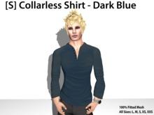 [S] Collarless Shirt - Dark Blue