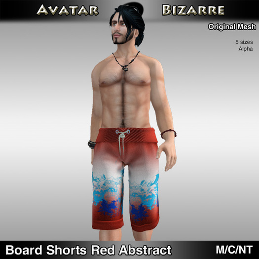 AB Board Shorts (Mesh) Red Abstract
