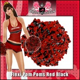 Realistic Movement, Flexible Cheerleading Pom Poms Black / Red by Cheeralicious