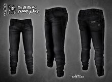 Mens Mesh Skinny Jeans Pants - BLACK