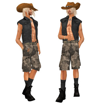 TW>Man s camouflage dress with shorts brown