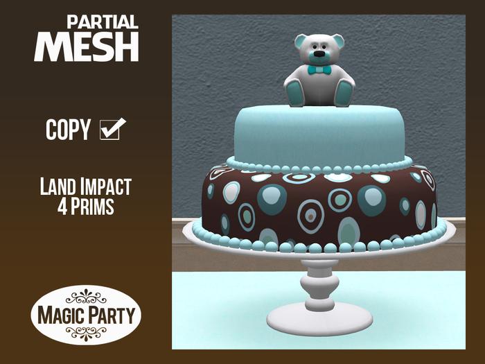 Birthday - Blue & Brown Cake [Partial Mesh]