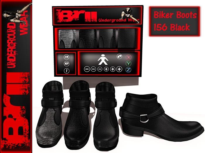 **MESH BIKER BOOTS 156 BLACK FOR MEN** Brii Underground Wear **