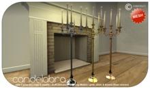 Construct - Mesh Candelabra long - 2 li - gold, silver & bronze