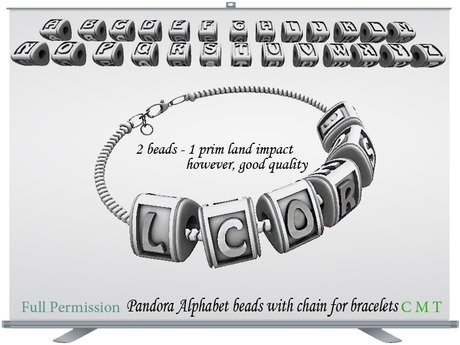 Pandora Alphabet beads with Chain Full Permission
