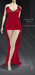 TuTy's Long Tail Dress - Fitted mesh . Red