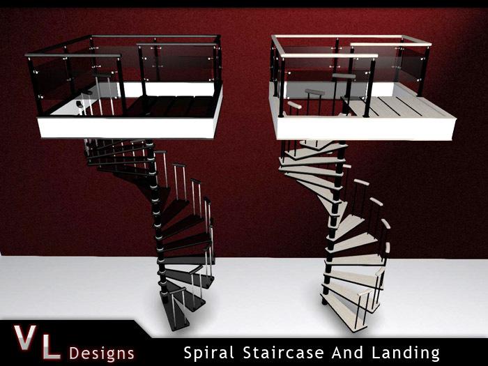 Mesh Spiral Staircase & Landing - Stair Set