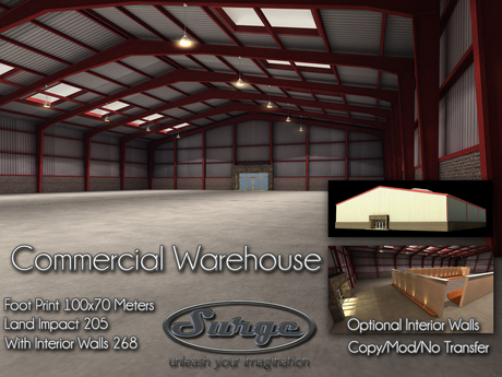 Commercial Warehouse - Huge 100x70 - Optional Interior Walls