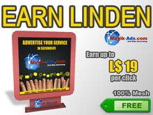 Magik Ads Adboard - Red | Earn Lindens, paid per click!