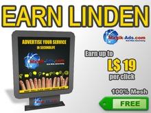 Magik Ads Adboard - Black | Earn Lindens, paid per click!