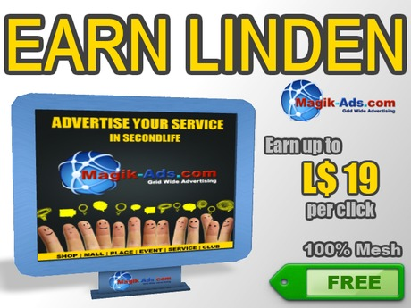 Magik Ads Big Adboard - Blue | Earn Lindens, paid per click!