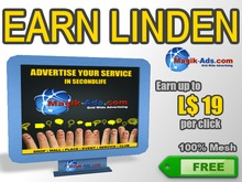 Magik Ads Big Adboard - Blue | Earn Lindens, paid per click!