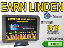 Magik Ads Big Adboard - Black | Earn Lindens, paid per click!