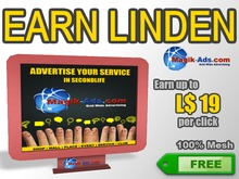 Magik Ads Big Adboard - Red | Earn Lindens, paid per click!