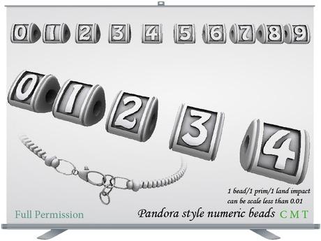 Pandora style numeric beads Full Permission